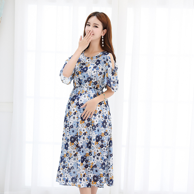 9e4f84539be 2227  Off Shoulder Flower Printed Chiffon Maternity Dress 2018 Summer  Fashion Clothes for Pregnant Women Beach Office Pregnancy