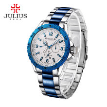 2016 Luxury Brand Julius Multifunction Quartz Men Watch Sport Watches Male luminous Stainless Steel Military WristWatch JAH-095