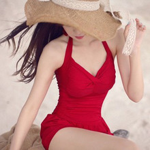 2017 Women Dress Swimsuit Sexy Bandage Swimwear Female One Piece Bathing Suit Halter Swimdress Push Up Skirt Maillot Beach Wear trendy solid color halter pleated one piece skirt swimwear for women