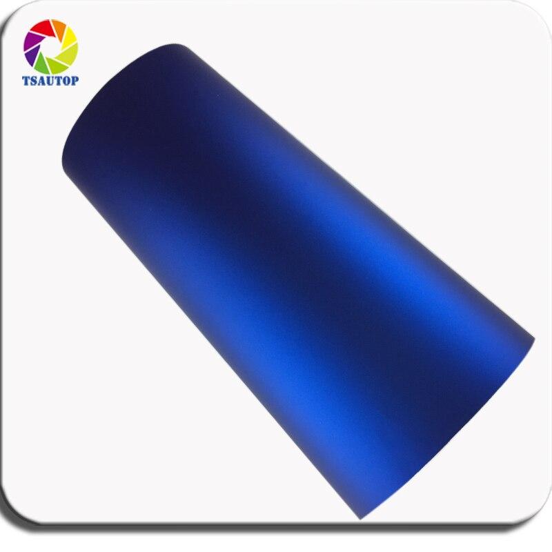 TSAUTOP Premium 1.52 m largeur mat chrome vinyle wrap mat tache bleu voiture papier d'emballage bulles d'air libre