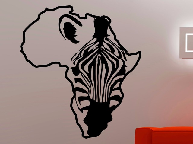 Zebra Africa Map Wall Decal African Animal Horse Stickers Home Living Room Bedroom Decor Vinyl