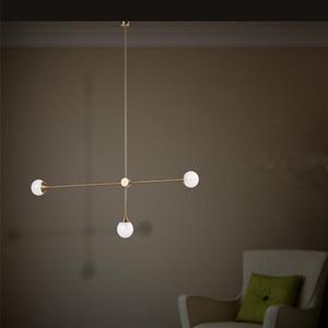 Image 2 - Nordic 3 Lights Art Style żyrandol do salonu światło Loft geometryczne jadalnia światło do pokoju oświetlenie do kawiarni z żarówkami Led