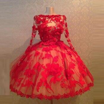 71fedb3712 Custom Made Vestidos de Noite 3D Floral Vestido Formal Vestido Cheio Mangas  Uma Linha de Vestidos de Noite Elegantes Tulle Robe De Soiree avondjurken