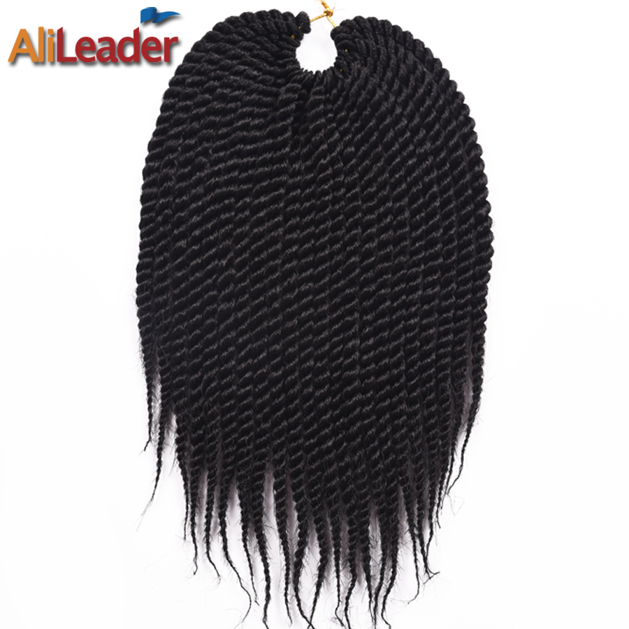 """AliLeader Short 12"""" Senegalese Twist Hair 22 Roots/pack Crochet braids Kanekalon Synthetic Braiding Hair for Women And Kids"""
