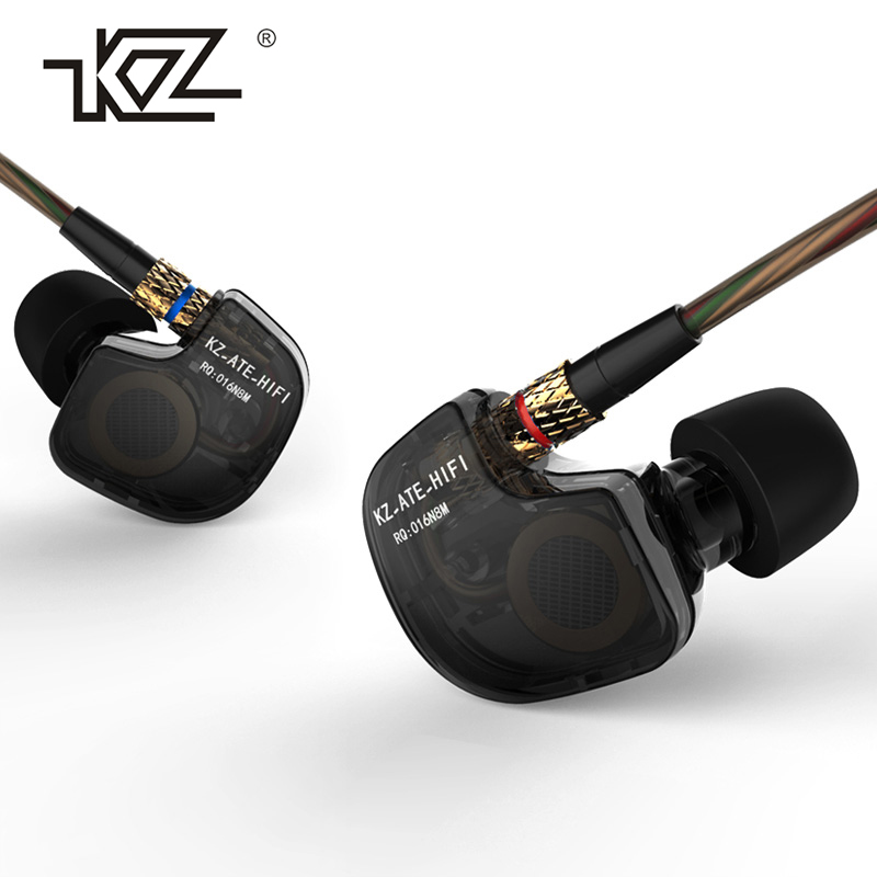KZ ATE Noise-Cancelling HIFI In Ear Headset Metal Stereo Super Bass With Microphone Earphones for Phone iPhone Xiaomi Mp3 Player brand new mee m6pro top quality earphones hifi noise cancelling bass earphones pk se215 ie800 syllable earphones with retail box
