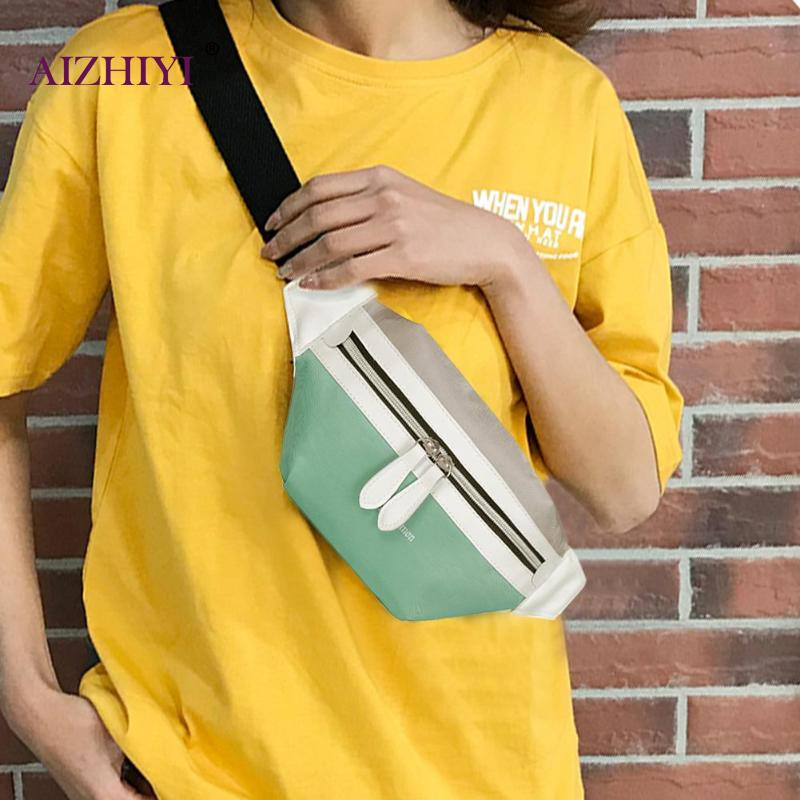 Teen Girls Fashion Hit Color Sports Shoulder Crossbody Bags Women Waist Fanny Belt Packs Female Casual Zipper Canvas Chest Bags