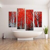 4 개 붉은 나무 벽 그림 캔버스 홈 장식 아이디어 페인트 벽 예술 예술 사진