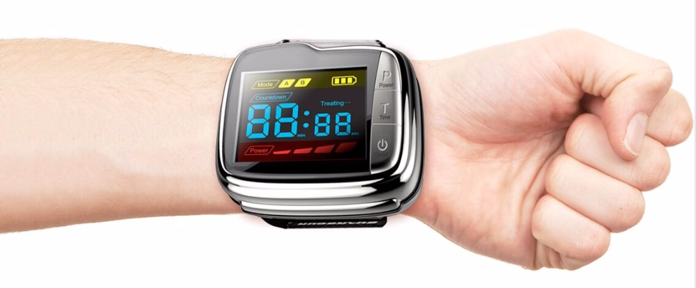 Home laser glucose monitor wrist cold laser blood pressure treatment watch