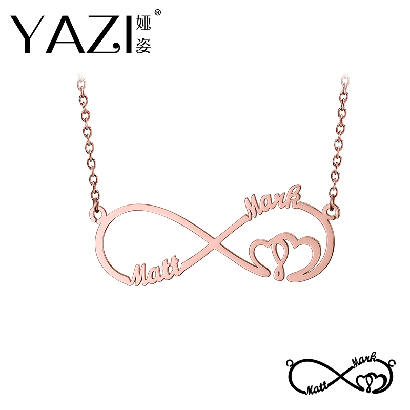 YAZI Custom Infinity Necklace Engraved Two Name In Necklace Gold Color Plated Copper Custom Jewelry Valentine's Day Memory Gift