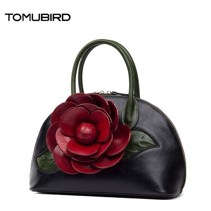 TOMUBIRD 2017 new fashion handmade dimensional flower superior leather designer famous brand women bags genuine leather handbags