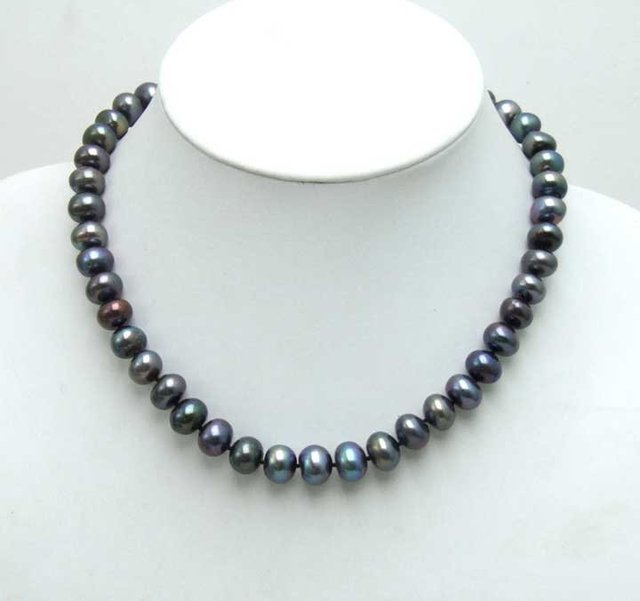 SALE Big 9-10mm Freshwater Black round flat Pearl 17inch necklace-5357 Wholesale/retail Free shipping
