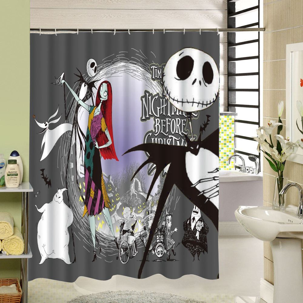 Halloween shower curtain - Waterproof 3d Halloween Shower Curtain Nightmare Before Christmas Ghost Skeleton Castle Style Bath Curtains Bathroom Accessories