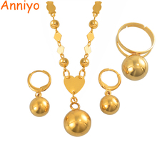 Anniyo Micronesia Jewelry sets Beads Ball Pendant Necklace Earrings Ring Round Bead Chain Marshall Jewellery Gifts #155506S