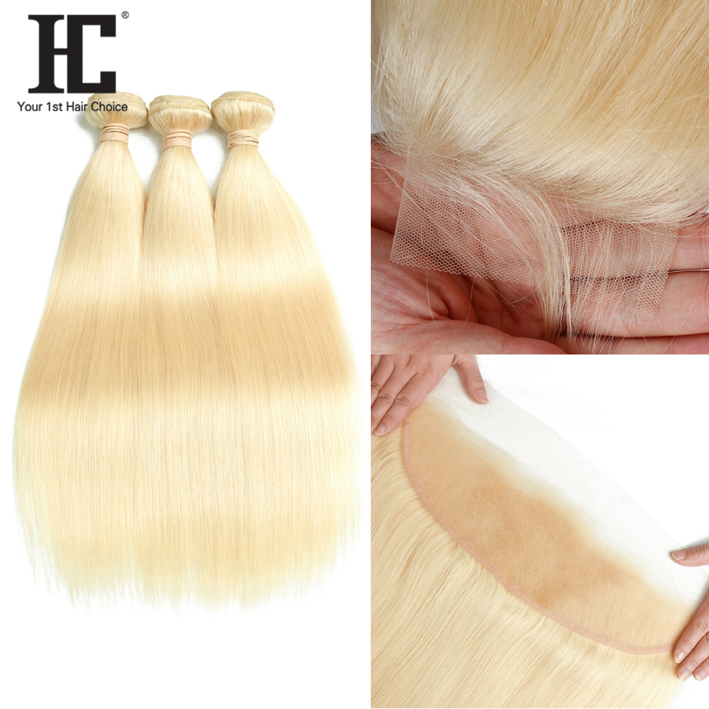 HC 613 Bundles With Frontal Remy Malaysian Straight Hair Bundles With Frontal Blonde Human Hair Weave 2 3 Bundles With Frontal image