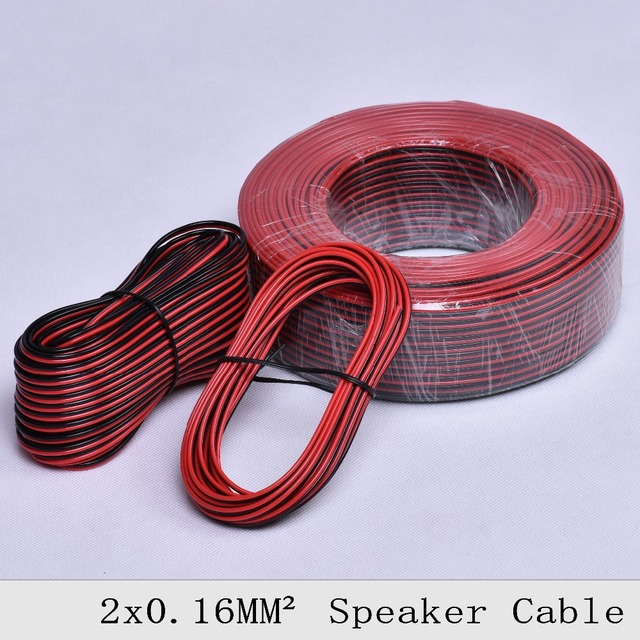 2 5 10 20 50meters red black speaker wire copper led connect line car audio cable. Black Bedroom Furniture Sets. Home Design Ideas