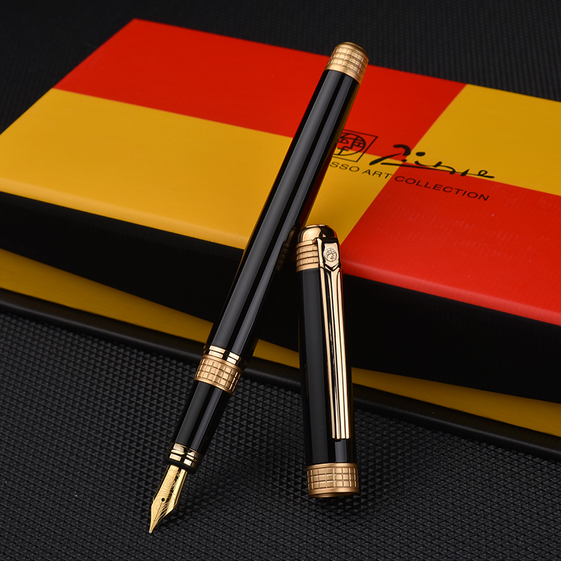 Pimio Metal Fountain Pen for Gift with Original Gift Box Gold/Silver Clip Black Pens F Nib 0.5mm Ink Pens Office School SuppliesPimio Metal Fountain Pen for Gift with Original Gift Box Gold/Silver Clip Black Pens F Nib 0.5mm Ink Pens Office School Supplies