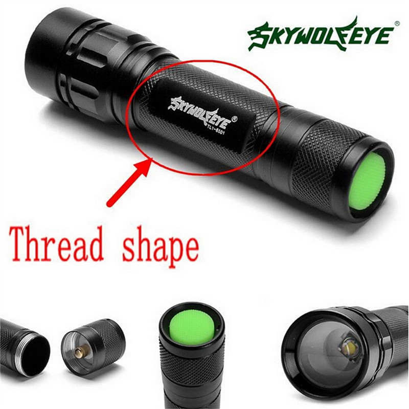 Black XM-L T6 3000 Lumens 3 Modes Led Torch Zoomable LED Flashlight Aluminum Alloy Torch Light For 18650 Rechargeable Battery