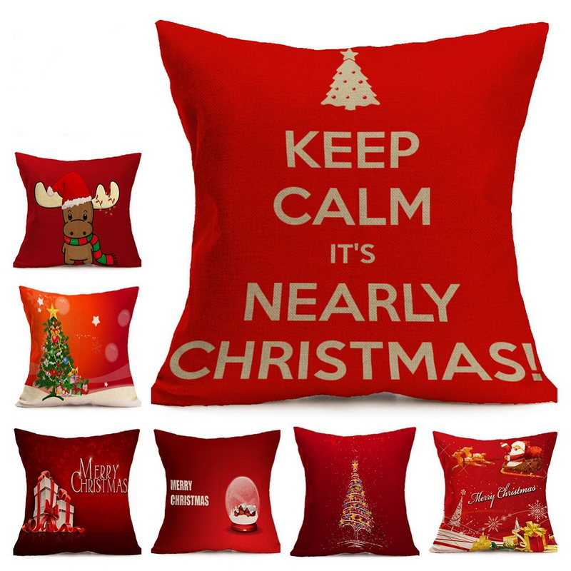 1pcs Christmas Pillow Cover Xmas Ambience Square Pillow Case Chritmas Gift