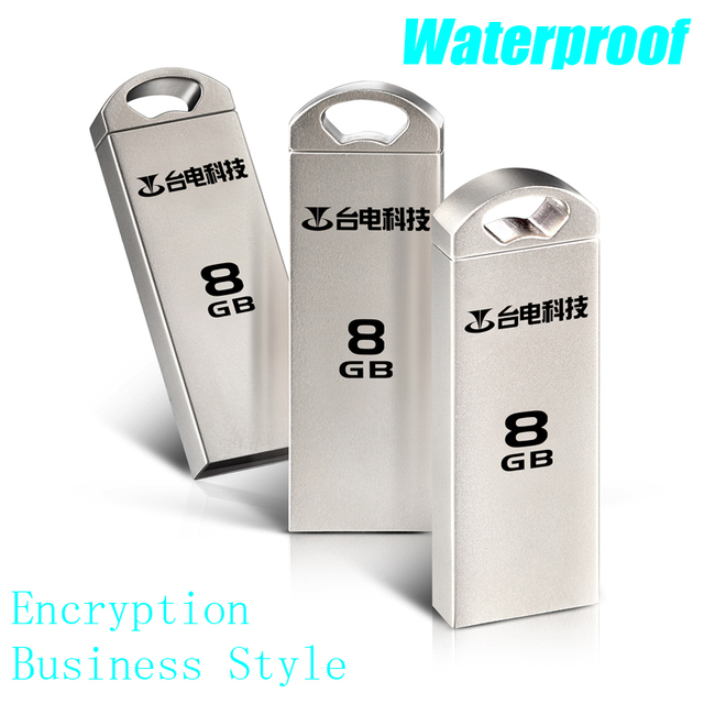 Real Capacity USB 2.0 8GB USB Flash Drive Encryption USB Stick 8GB Metal U Disk Business Style Waterproof Mobile Storage Devices