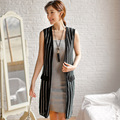 2017 spring knitted sleeveless cardigan women vertical striped long shawl coat woman gilet femme manche longue pull femme femal