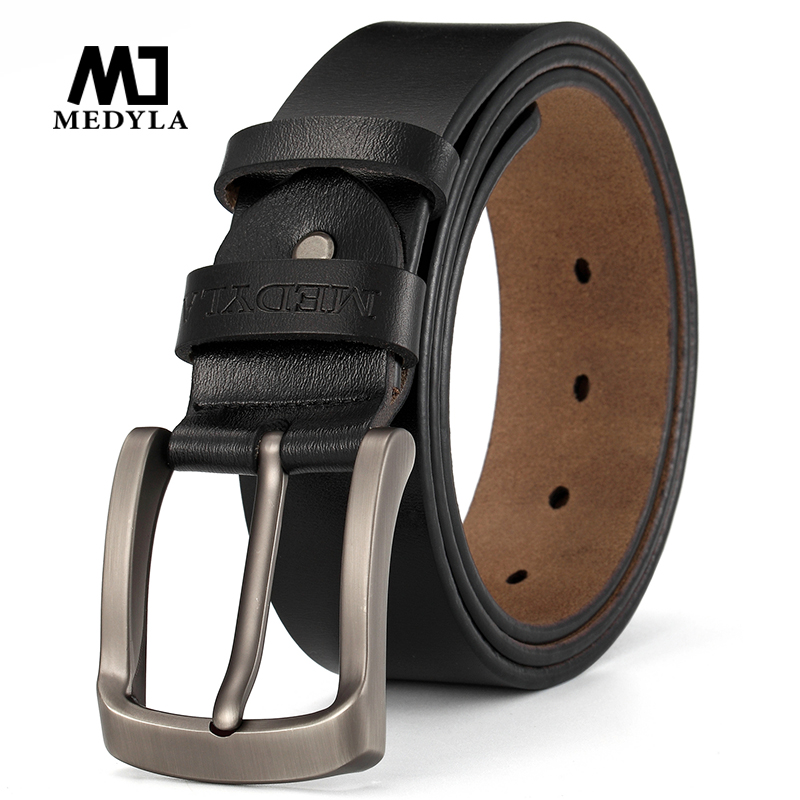 MEDYLA brand mens leather belt high quality natural business casual for men pants suit jeans accessories