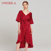 ONERILA 3 Colors Half Sleeve Sexy Deep V Ruffle French Pink/Gray/Red Wrap Dress Blogger Women Party Split Maxi Satin Tea Dress