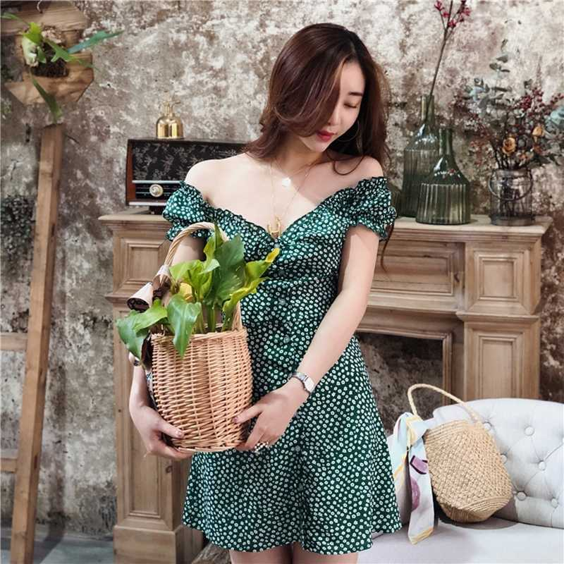Robe d'été 2019 boho plage vintage vert blanc flroal bouton club fête mini robe élégant vestidos sexy robe streetwear