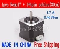 Free shipping 1pcs 4 lead Nema17 Stepper Motor 42 motor Nema 17 motor 42BYGH 40MM 1.7A (17HS4401 17HB2401) 3D motor for CNC XYZ
