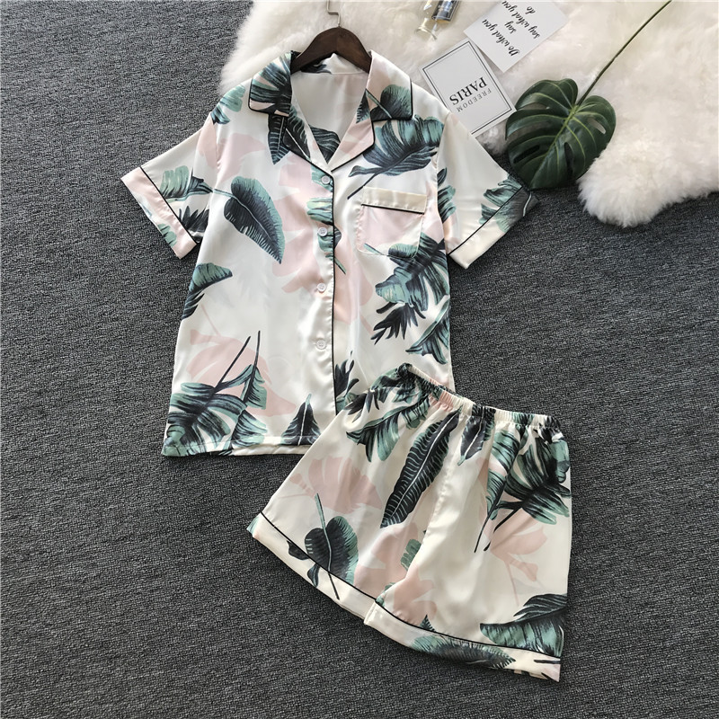 Summer New Ice Silk Women   Pajama     Set   Printing Short Section Pijama Two Paper Suit