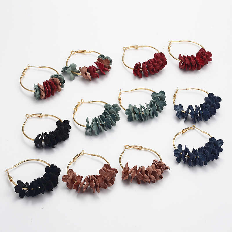 EZ1 2018 Fashion Hoop Earrings For Women Bijoux Elegant Fabric Flower Petal Alloy Circle Round Earrings Charm Gold Color Brincos
