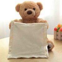 Peekaboo Teddybär Verstecken Spielen Niedlichen Cartoon tier Gefüllte Teddybär Kinder Geschenk 30 cm Schöne Musik Bär Plüsch spielzeug