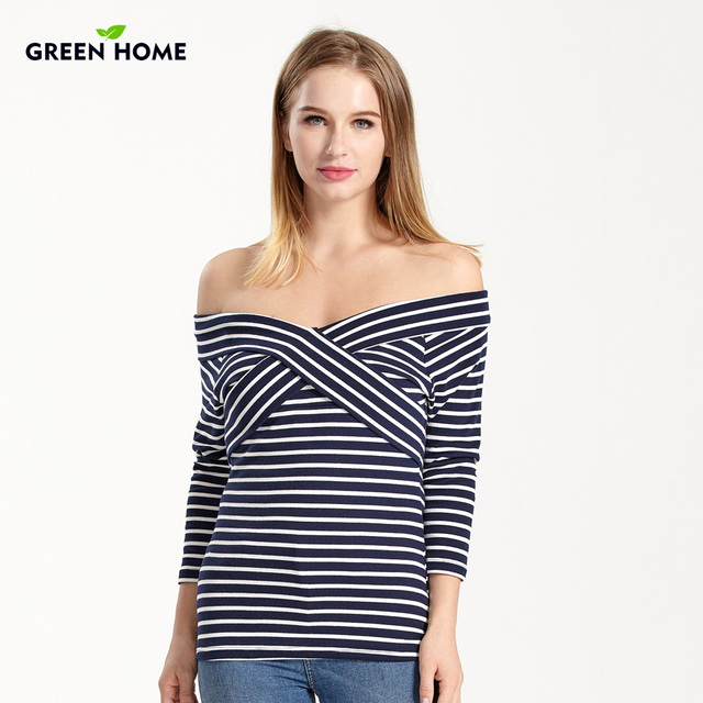 0edfbe94fb27c Green Home Breastfeeding Clothing Special New Design Neck Maternity Striped  T-shirt Pregnancy Clothes Nursing Tops