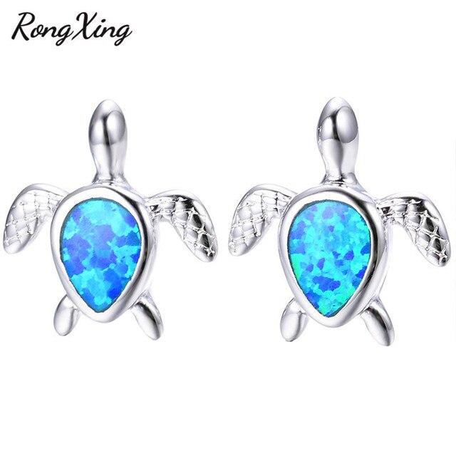 RongXing 925 Sterling Silver Turtle Stud Earrings Blue White Fire Opal  Animal Earrings For Women fcdbcfd76bae