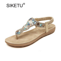 Fashion Rhinestone Flip Flops For Women Comfortable Ladies Casual Flat Beach Sandals Sweet Bohemia Gladiator Sandals