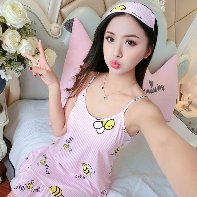 Sexy Pyjamas Women Dress Cartoon Bee Print Sleepwear+Eye mask Nightgown Set  women Sleeveless ruffled nightdress Home Negligees 54ac66779