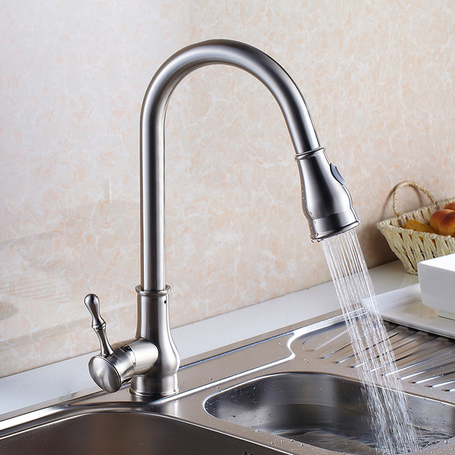 Luxury Gold/Brushed Nickel Kitchen Sink Water Tap Brass Sink Kitchen Faucet  Spray Head Shower