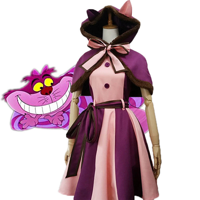 Kids Girls Adult Alice In Wonderland Cheshire Cat Dresses Cosplay Costume Christmas Fancy Dress
