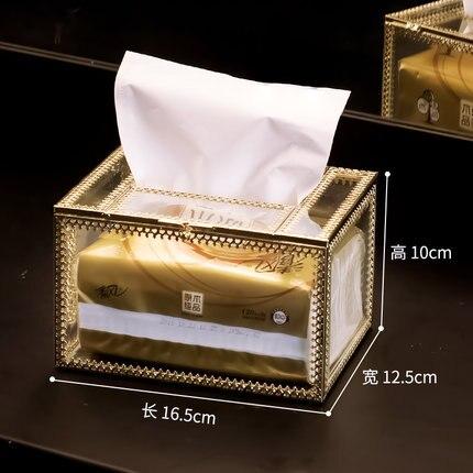Европейская прямоугольная стеклянная металлическая коробка для ткани гостиной дома обеденного стола отеля KTV бумажная коробка для хранения полотенец декоративные аксессуары - Цвет: B