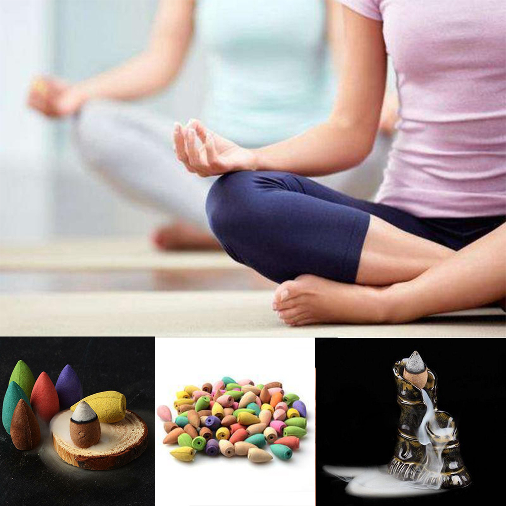 50pcs/bag Natural Sandalwood Backflow Incense Indoor Tower Incense Aroma Air Purifying Freshener Backflow Incense