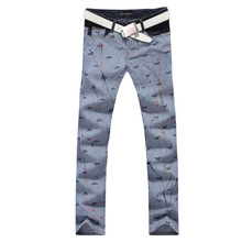 2017 new vogue straight leg denims lengthy males male printed denim pants cool cotton designer good high quality model trousers MJB025
