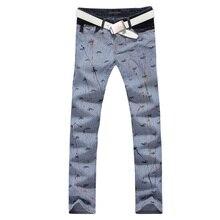 2017 новая мода прямой ногой джинсы длинные мужчины мужской печатные джинсовые брюки прохладный хлопок дизайнер хорошее качество бренда брюки MJB025