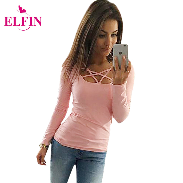 2017 autumn t shirt women long sleeve slim fit fashion for Women s long sleeve fitted t shirts