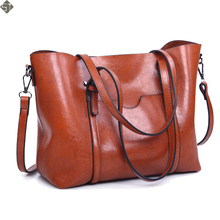 Fashion Women bag Oil wax Women's Leather Handbags Luxury Lady Hand Bags With Purse Pocket Women messenger bag Big Tote Sac Bols