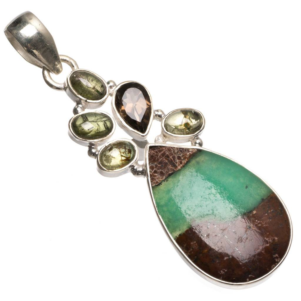 Natural Australian Chrysoprase,Smoky Quartz and Peridot 925 Sterling Silver Pendant 2 1/4