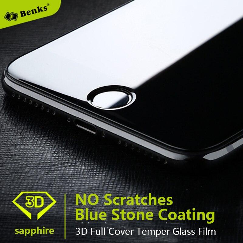 imágenes para Benks intergrated revestimiento de zafiro de vidrio templado protector de pantalla para iphone 7 7 plus azul película de vidrio de revestimiento de piedra