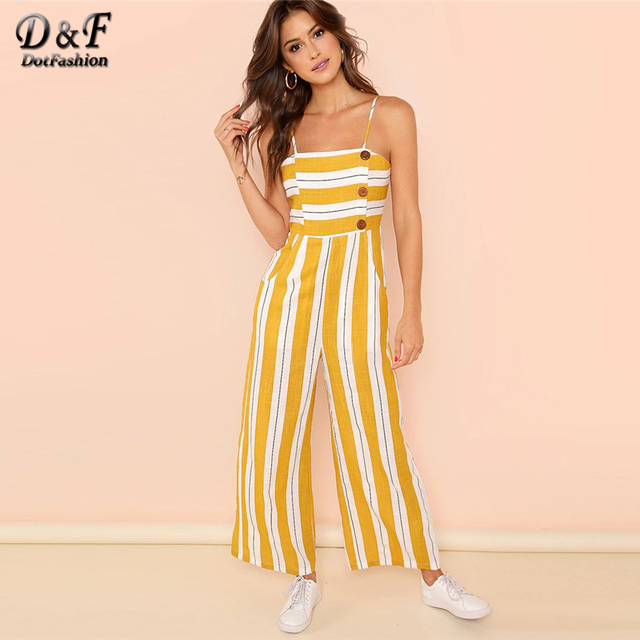 9c54bd29430 Dotfashion Ginger Striped Print Wide Leg Cami Jumpsuit For Women 2019 Summer  Vacation High Waist Beach Culottes Maxi Overalls