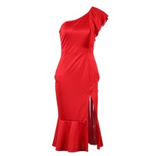 цена на JSMY 2019 New Summer Fashion Women Sexy Slim Irregular Strapless Hem Slit Slip Ruffled Midi Dress