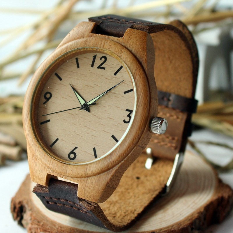 BOBO BIRD Mens Bamboo Wooden Hand craft Quartz Watches with Luminous Hands with Genuine Leather Band