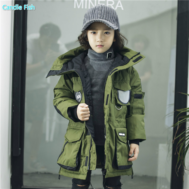 2017 children's clothing winter new children's clothing in the long section of the boy's dressing cotton hooded jacket sky blue cloud removable hat in the long section of cotton clothing 2017 winter new woman