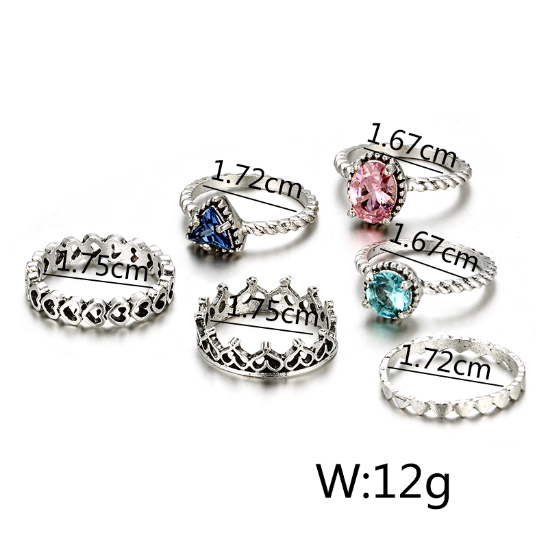 HuaTang Bohemian Antique Silver Ring Geometric Elephant Flower Green Rhinestone Knuckle Rings Midi Finger Anel Rings Jewelry 74